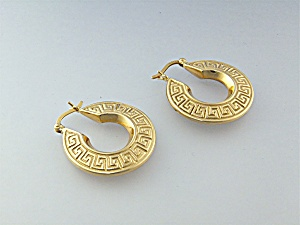 Earrings 14K Gold Greek Key Hoops (Image1)