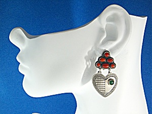 Earrings DON LUCAS Sterling Silver Coral Malachite Clip (Image1)