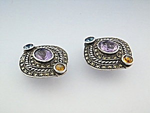 Earrings Sterling Silver Marquisite Amethyst Citrine Cl (Image1)