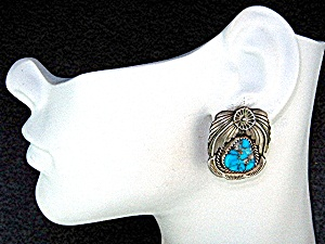 Navajo Sterling Silver Bisbee Turquoise Clip Earrings