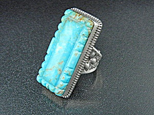 David Troutman Carved Turquoise Sterling Silver Ring (Image1)