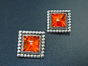 Navajo Amber Sterling Silver Clip Earrings A. Toadlena