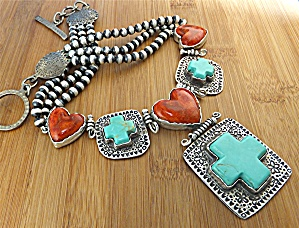 David Troutman Sterling Silver Turquoise Coral Hearts G