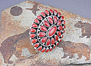 Native American Coral Sterling Silver Paul Livingston