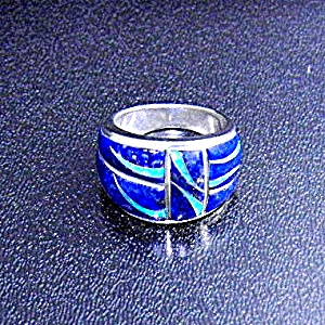 Lapis Opal Sterling Silver Inlay Ring Signed GL  (Image1)