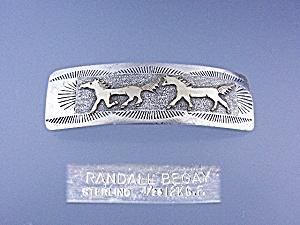 Barrette Sterling Silver 12K Gold Horses Randall Begay  (Image1)