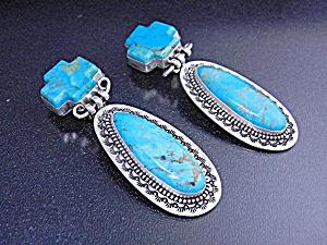 David Troutman Kingman Turquoise Sterling Silver Earrin (Image1)