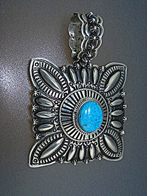 Navajo Sterling Silver Turquoise Pendant D. Becente