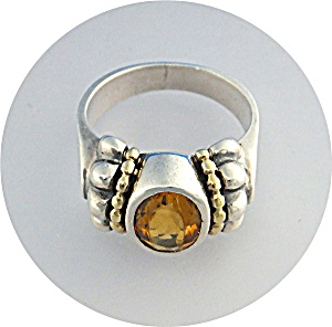 Ring 18K Gold Sterling Silver CitrineLAGOS CAVIAR (Image1)