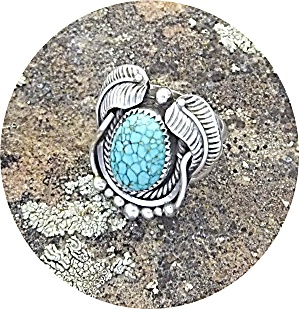 KIRK SMITH Sterling Silver SpiderwebTurquoise Ring (Image1)