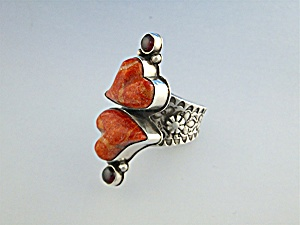 David Troutman Sterling Silver Apple Coral Hearts Ring (Image1)
