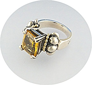 Ring 18K Gold Sterling Silver LAGOS CAVIAR Citrine (Image1)