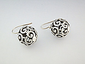 Earrings Sterling Silver Filigree Shepherd Hook  (Image1)