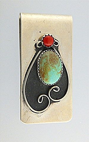 Money Clip Sterling Silver Turquoise Coral