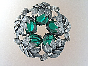 Brooch Pin Sterling Silver Green Glass CINI (Image1)