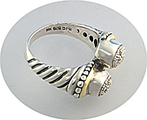Ring 18 K Gold Sterling Silver Diamond Samuel B