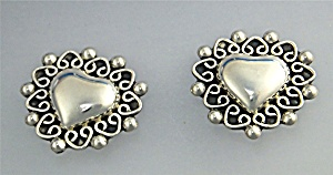 Taxco Mexico Sterling Silver Heart Clip Earrings  (Image1)