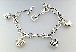 DAVID YURMAN 18K Sterling Silver Hearts Bracelet  (Image1)