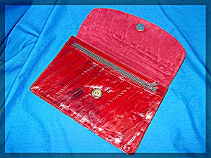 Red Eelskin Leather Purse Pouch