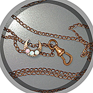 Gold Fill 50 Inch Watch Chain Opal Moon Slide (Image1)