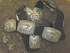 Concho Belt Sterling Silver Turquoise Dan Lovato (Image1)