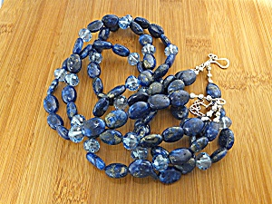 Lapis Swarovski Crystal Sterling Silver Necklace (Image1)