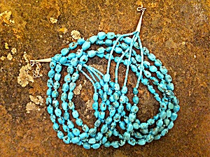 Necklace Kingman Turquoise 4 Strand Sterling Silver  (Image1)
