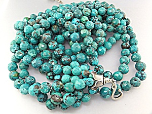 Gundi Turquoise Faceted 6 Strand Sterling Silver