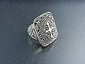 Bali Indonesia Sterling Silver Filigree Cross Ring