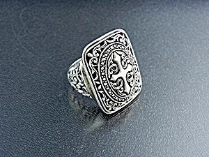 Bali Indonesia Sterling Silver Filigree Cross Ring (Image1)