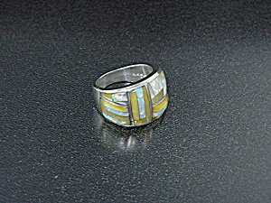 Studio Gl American Opal Gold Lip Sterling Silver Ring