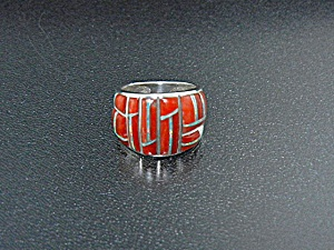 Studio Gl Sterling Silver Coral Opal Inlay Ring