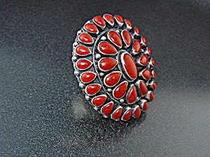 Native American Sterling Silver Coral Paul Livingston