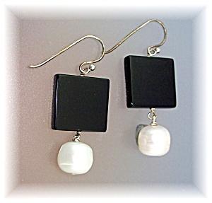 Earrings Onyx 11mm  Pearls Sterling SilveRiley Burnett (Image1)
