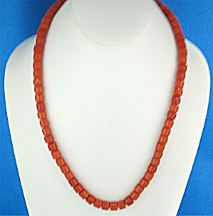 Necklace Coral Glass 22 Inch