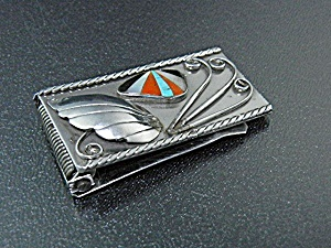 Native American Sterling Silver Coral Inlay Money Clip