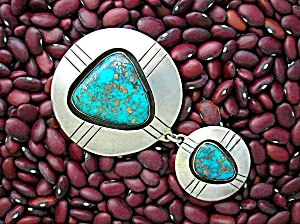 Pendant Morency Turquoise Silver Double Drop