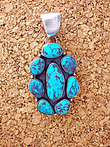 Pendant Sterling Silver Turquoise Signed M. Hildreth (Image1)
