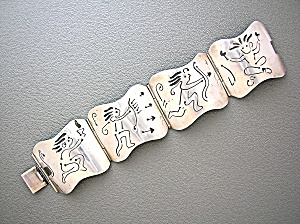 Sterling Silver Mexico FAR FAN Vintage Picture bracelet (Image1)