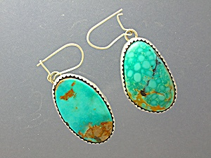 Turquoise Sterling Silver American Indian Earrings Jm Image1
