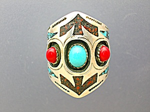 Native American Sterling Silver Coral Turquoise Ring Ng