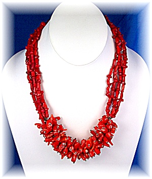 Necklace Natural Bamboo Red Coral Sterling Silver
