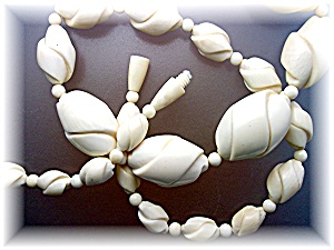 Necklace Pre Ban Elephant Ivory Graduated Twist Antique