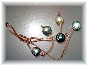 Purse Decoration 5 Tahitian Pearls Hand Made