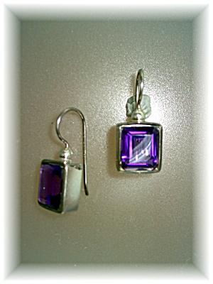 Earrings Amethyst Sterling Silver  Loop Pierced (Image1)