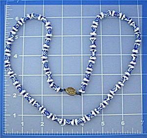 Chinese Porcelain Bead Necklace Sterling Silver Clasp (Image1)