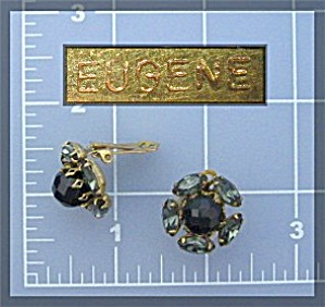 Earrings Eugene Crystal Goldtone Clip Flower