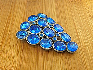 Dress Clip Silver Pot Metal Blue Glass (Image1)