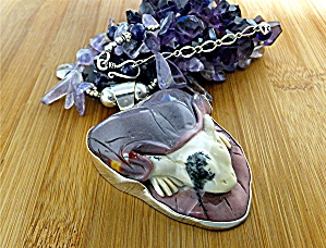 Necklace  Jasper Frog Amethyst Beads Sterling Silver (Image1)