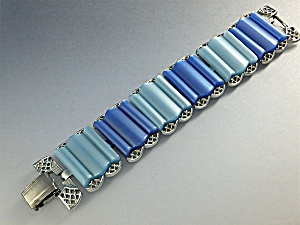Bracelet Blue Lucite Silver Tone Coro (Image1)